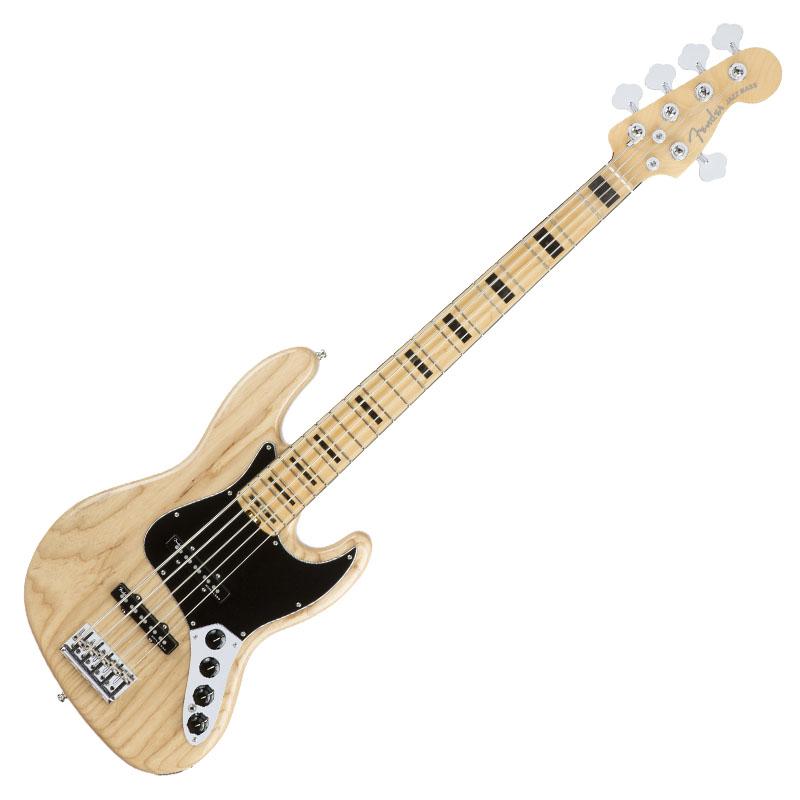 Fender American Elite Jazz Bass V 5-String Bass Guitar, Natural 1